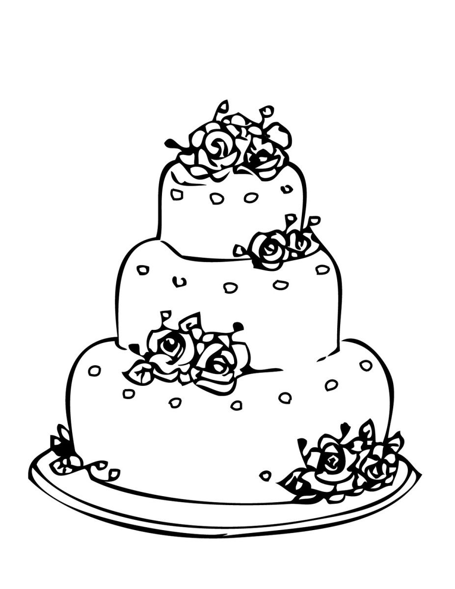 wedding cake coloring page for drawing 1 cakepinscom