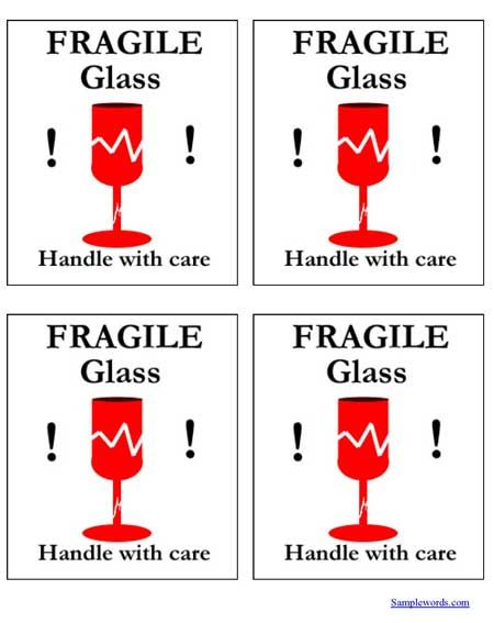 Free Printable Shipping Labels - Fragile Glass - Multiple Per Page - free printable shipping labels