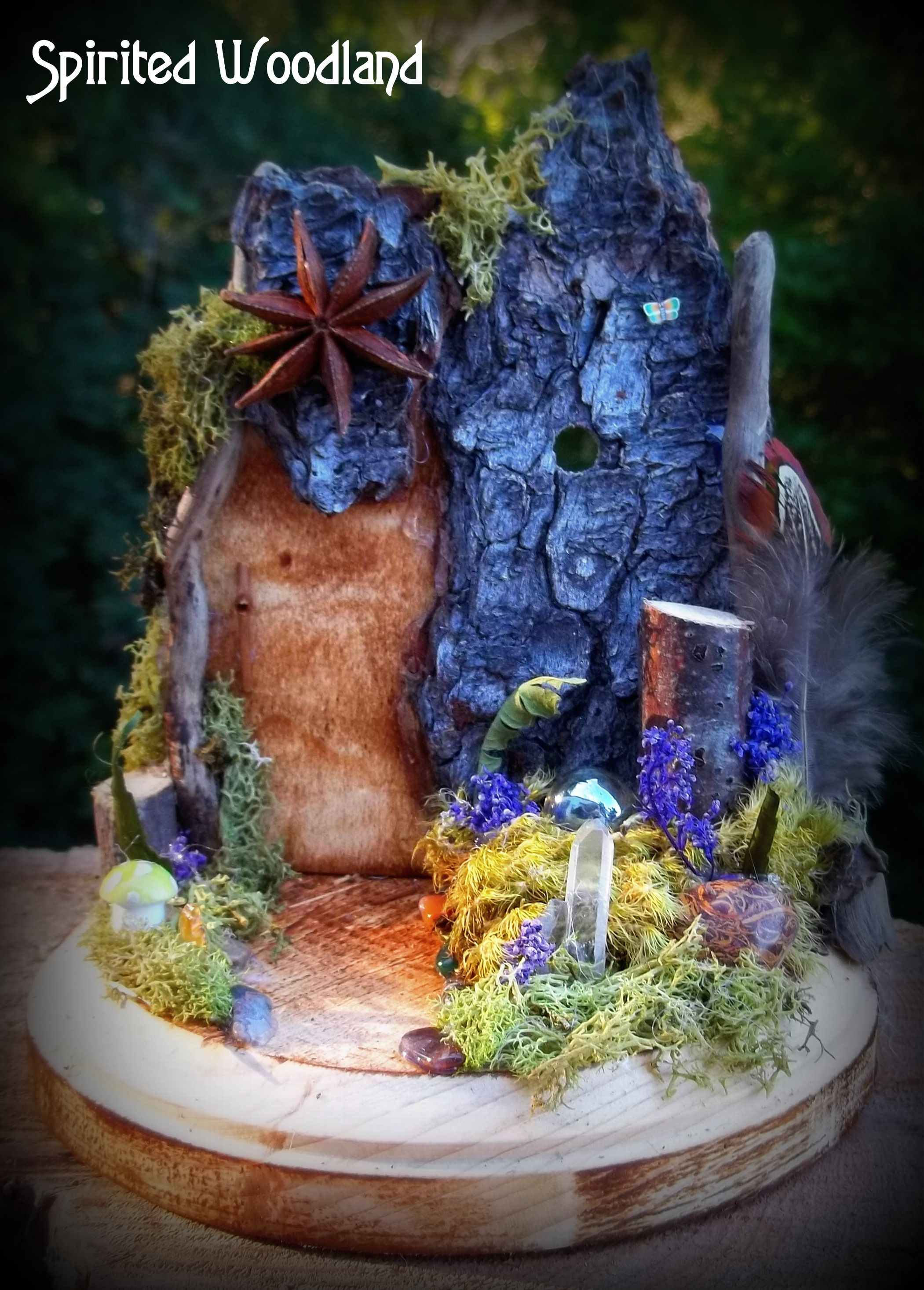 A magical fairy door awaits decorated with quartz crystals, soft mosses and an anise star.  Created by me, Roxie J. Zwicker ~ Spirited Woodland.