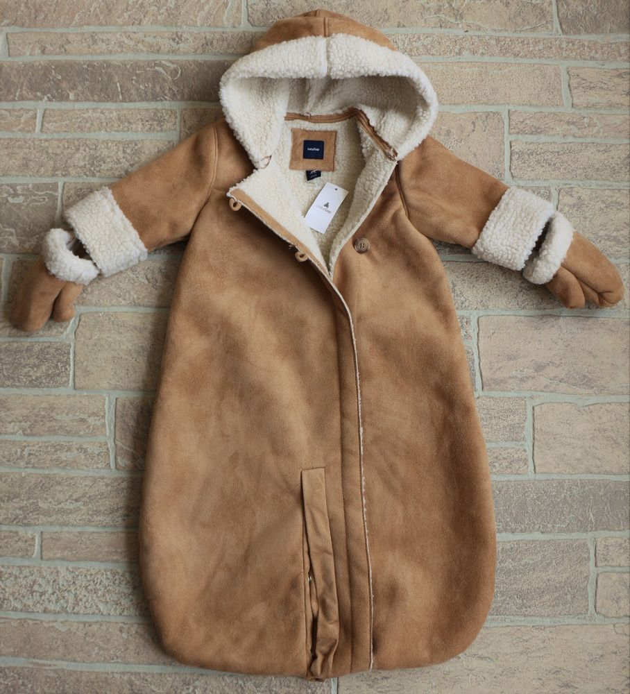 f804d16d1 Baby Gap Hooded Sherpa Shearling Fleece Lined Bunting Tan Faux Suede ...