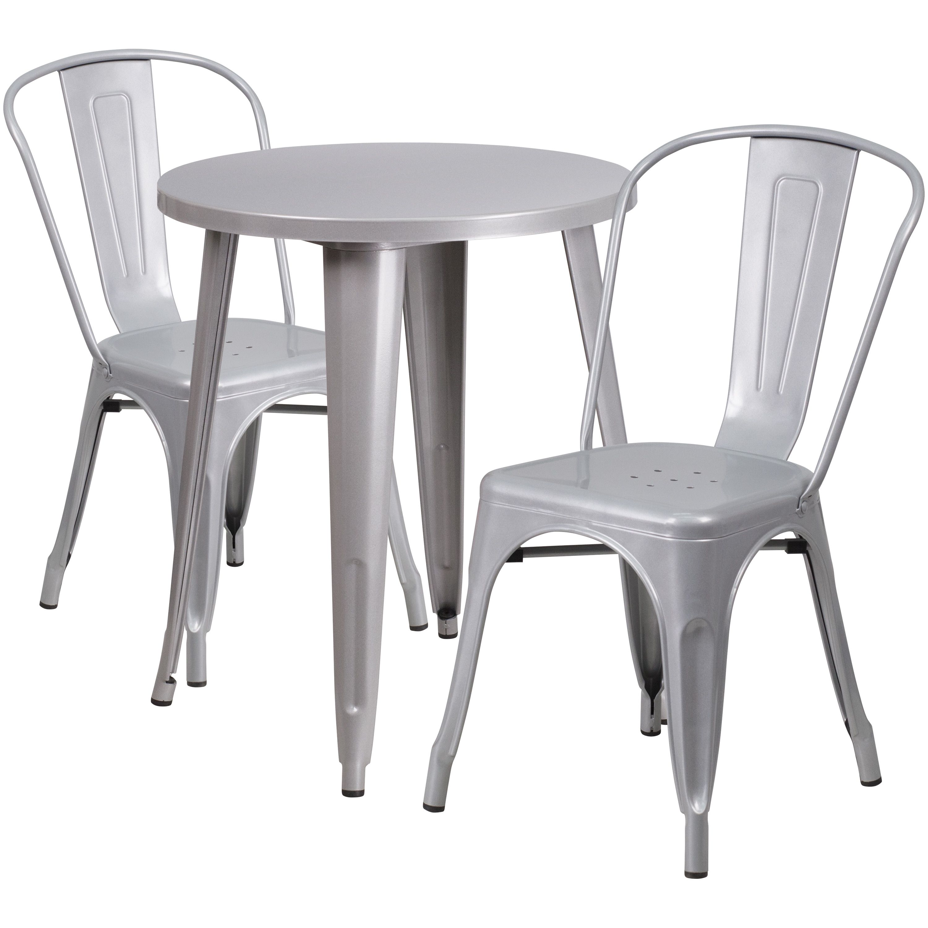 lancaster home 24 inch round metal indoor outdoor table set with 2 rh pinterest ca