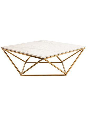 Rosalie Hollywood Regency Gold Steel White Marble Coffee Table Kathy Kuo Home