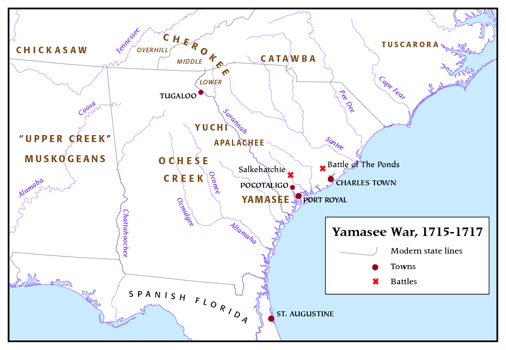 Overview Map Of The Yamasee War In The Carolina Colonies - Tribal wars map us