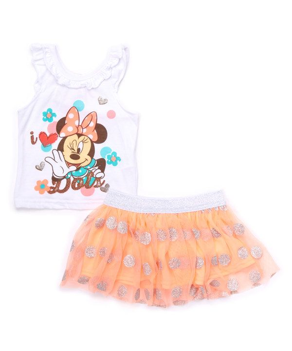 Look at this White Minnie Mouse Tank & Pink Skirt - Infant, Toddler & Girls on #zulily today!