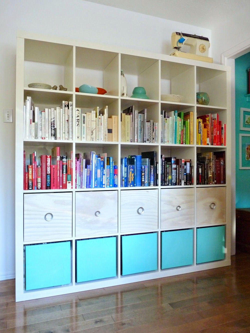 Genius Idea Ikea Expedit Shelves With Baskets For Storage: White Ikea Expedit With DIY Plywood Magazine Files, DIY