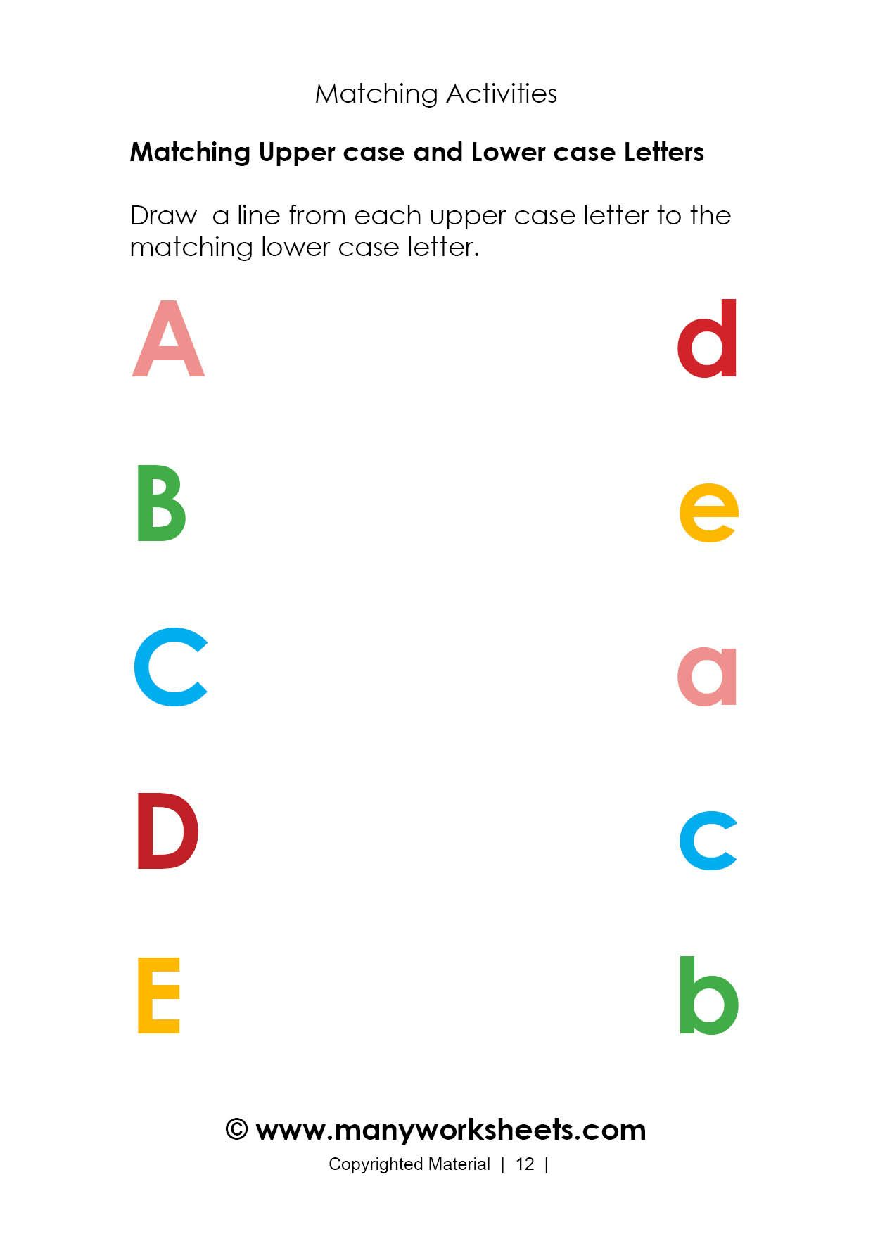 Matching Uppercase And Lowercase Worksheet 1