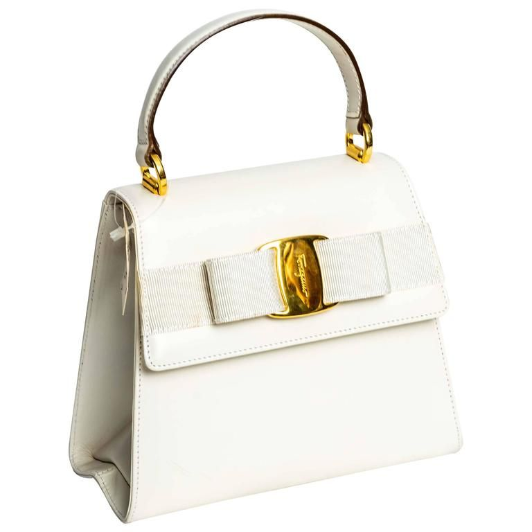 Ferragamo Vintage Vara Bow Two Way Bag In White Leather