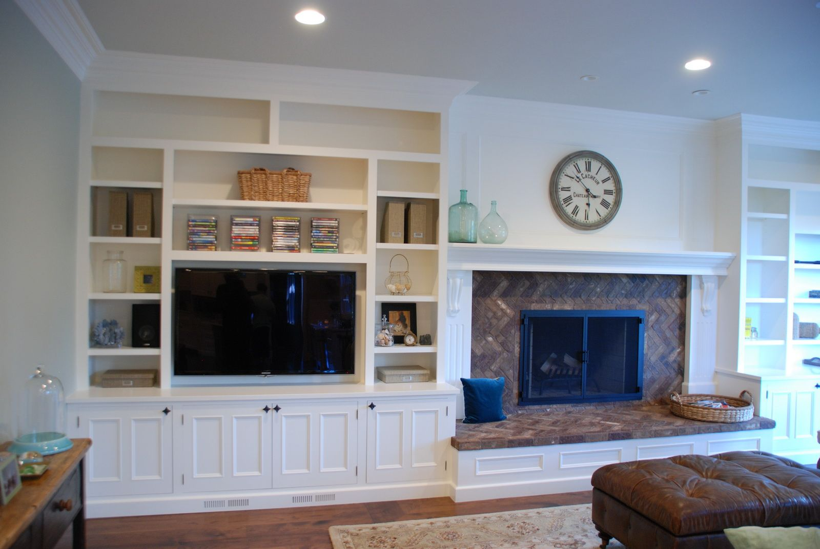 built in stereo and tv cabinet next to fireplace | kitchen ...