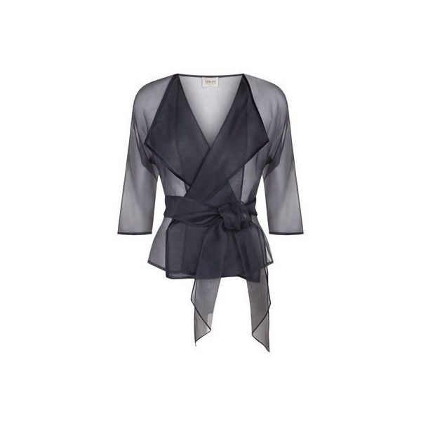Armani Collezioni Sheer Organza Jacket ($530) ❤ liked on Polyvore featuring outerwear, jackets, light weight jacket, navy lightweight jacket, armani collezioni, armani collezioni jacket and belted jacket