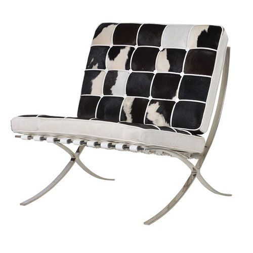 Black And White Cowhide Chair Fishing Camping Gaucho Leather Barcelona Draper