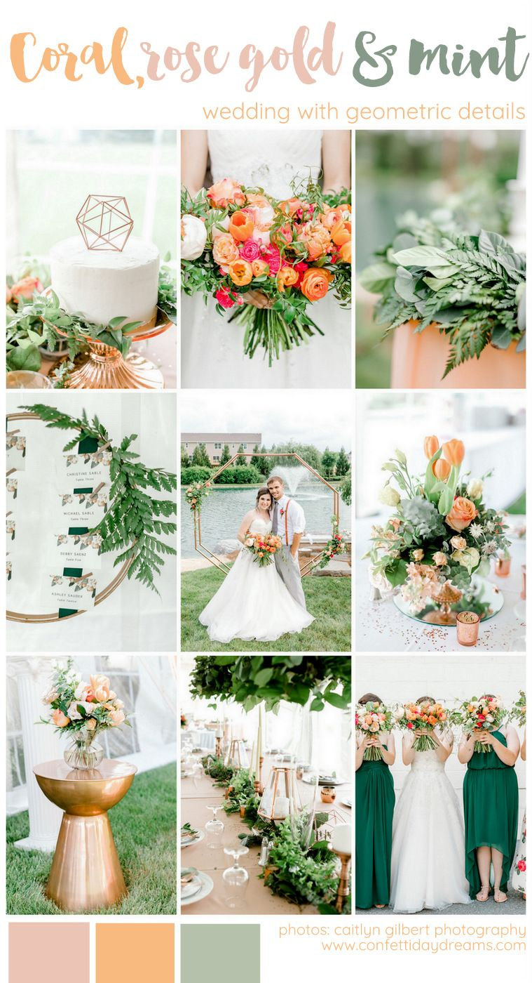 Coral Mint peach and Rose Gold wedding theme with greenery and geometric details for…