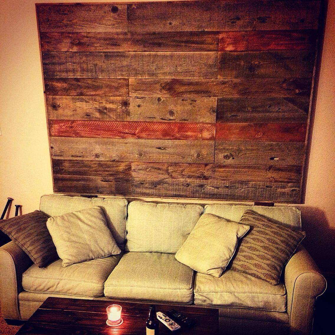 Reclaimed Fence Boards hiding the wall.