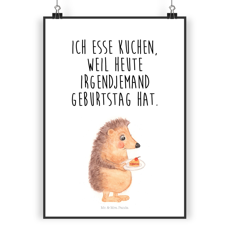 Poster Din A4 Igel Mit Kuchenstück Aus Papier 160 Gramm Weiß Das