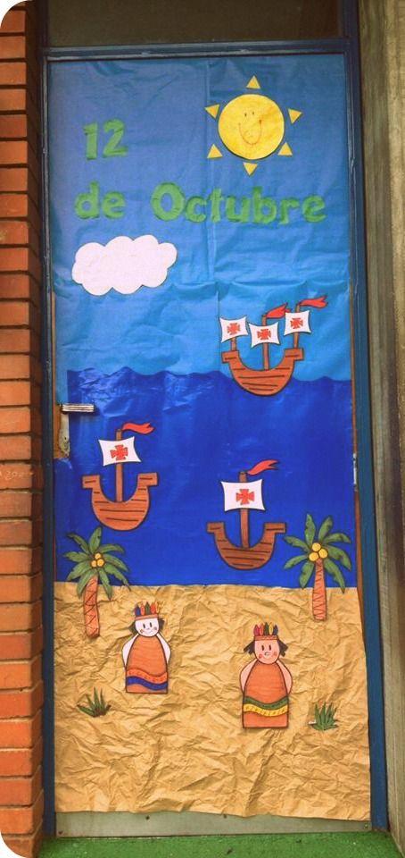 Puerta decorada del descubrimiento de Amrica. Cristobal ...