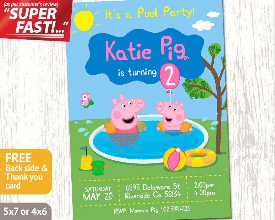 peppa pig pool party invitation peppa