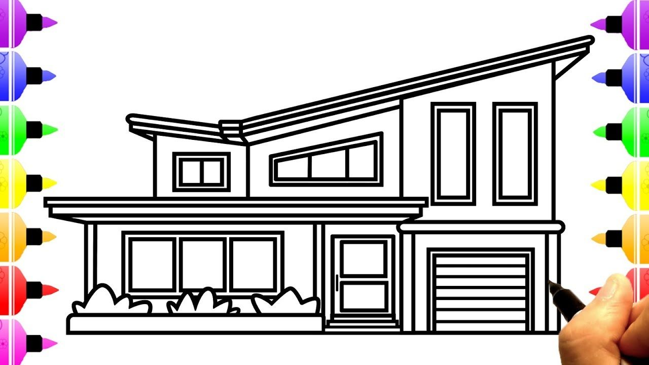 How to Draw House for Kids | Drawing and Coloring Pages for Children ...