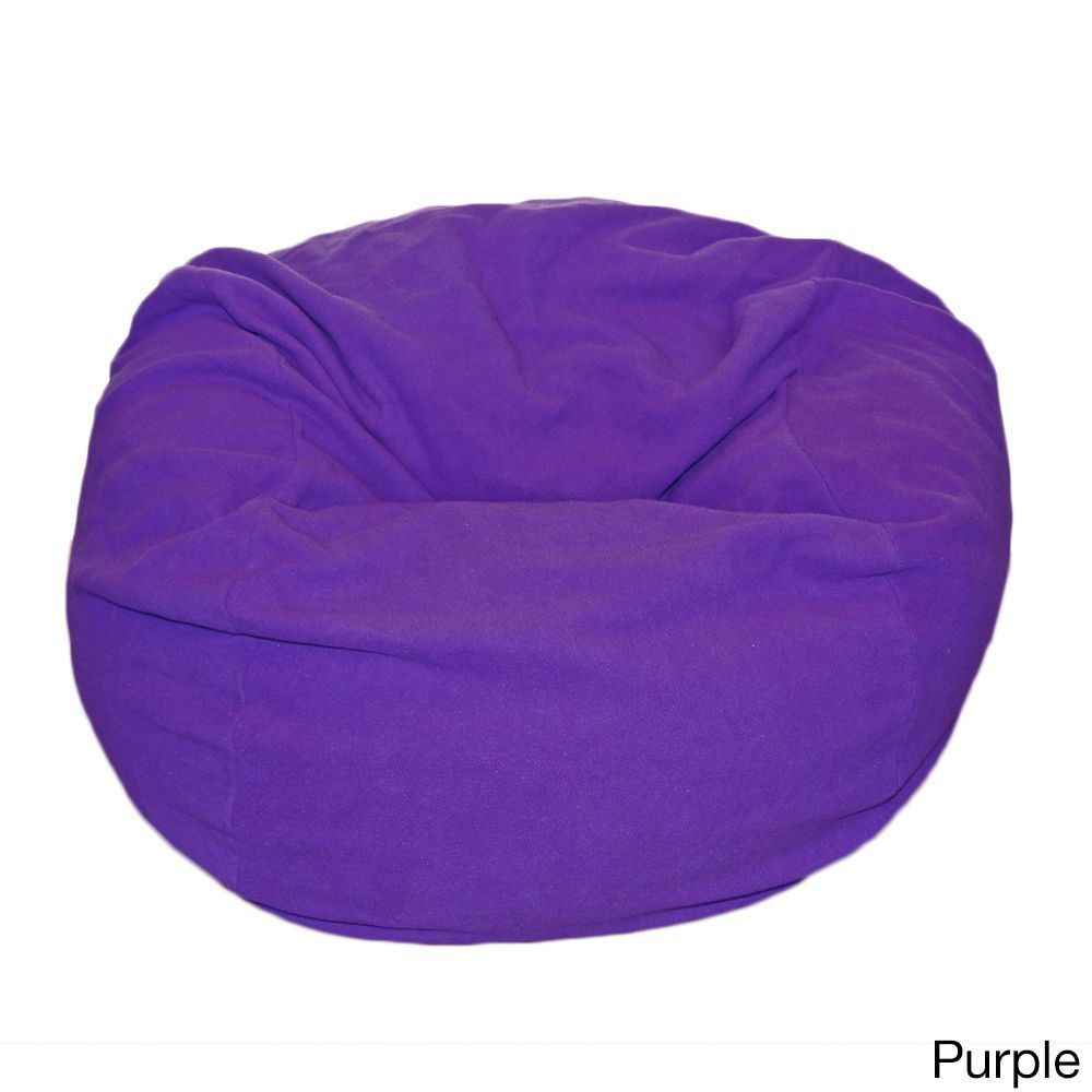 Ahh Products Anti Pill 36 Inch Wide Fleece Washable Bean Bag Chair Purple