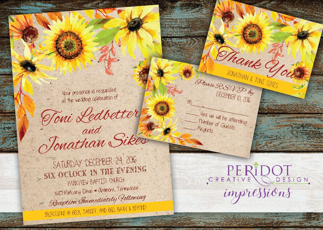 wedding custom thank you cards%0A Boho Sunflower Wedding Invitation Set  Invitation     x     RSVP        x       Foldover Thank You Card     x     Folds to      x