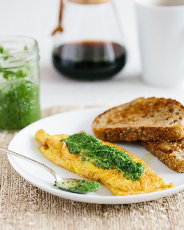 Cheese Omelette with Ramp Chimichurri | a Couple Cooks