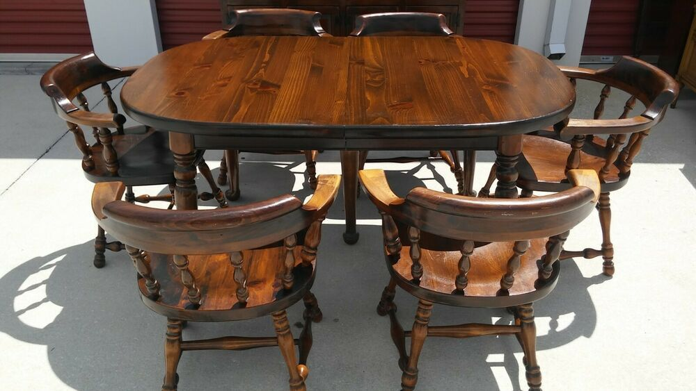 Vintage Ethan Allen Old Tavern Pine Dining Table And Chairs