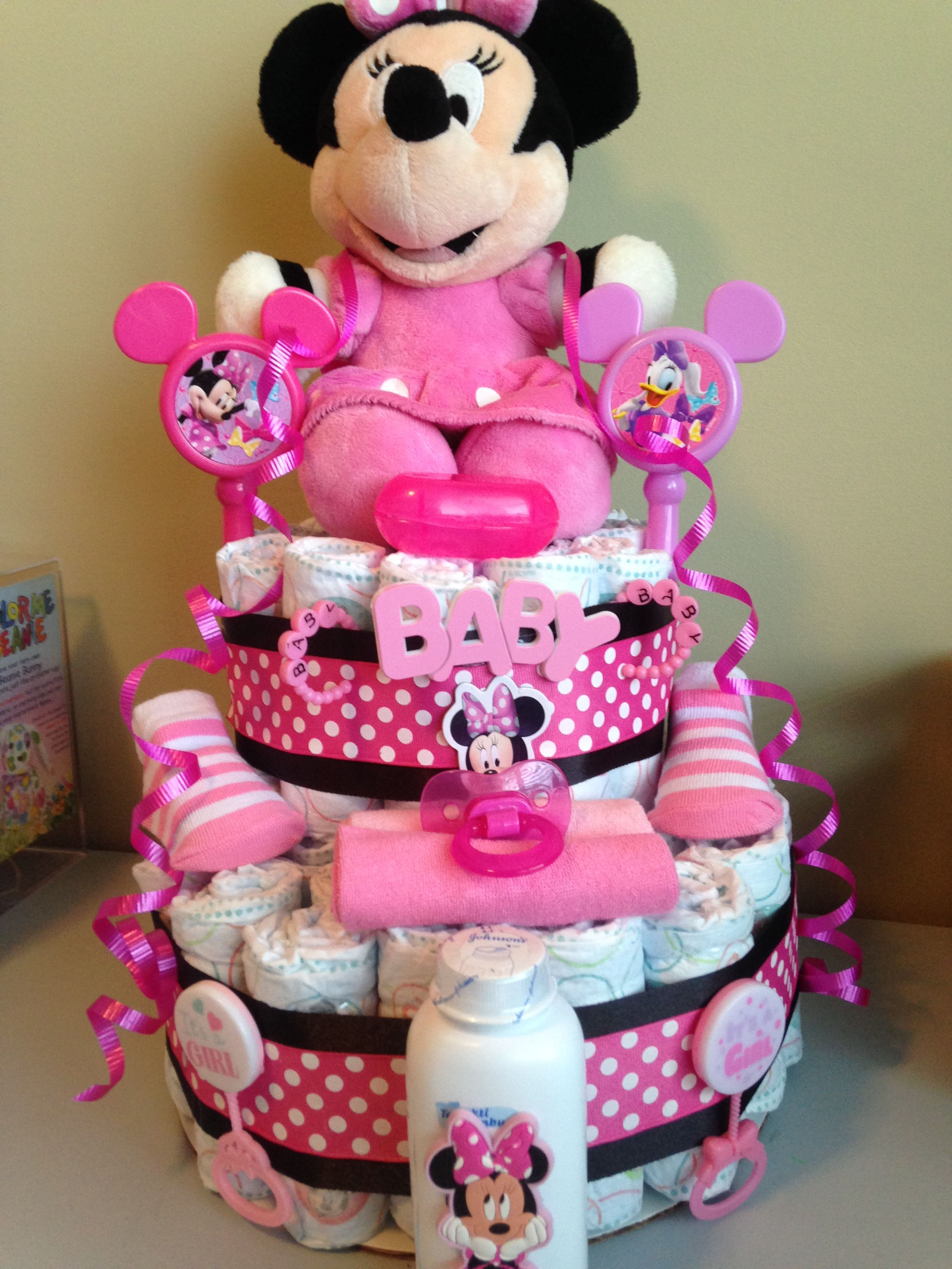 Minnie Mouse Diaper Cake 50 Baby Shower Gift Basket