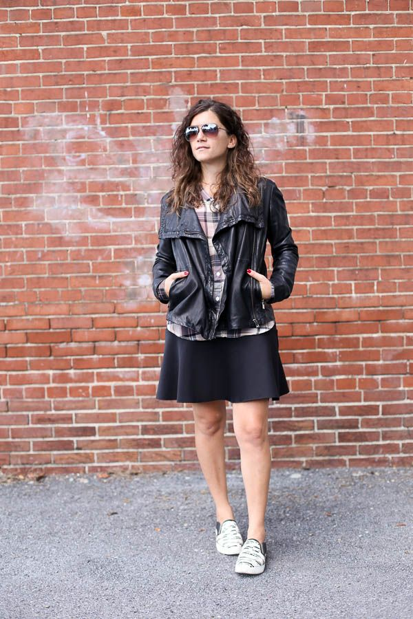 Leather Jacket, Plaid Top, Black Skirt and Slip-on Sneakers