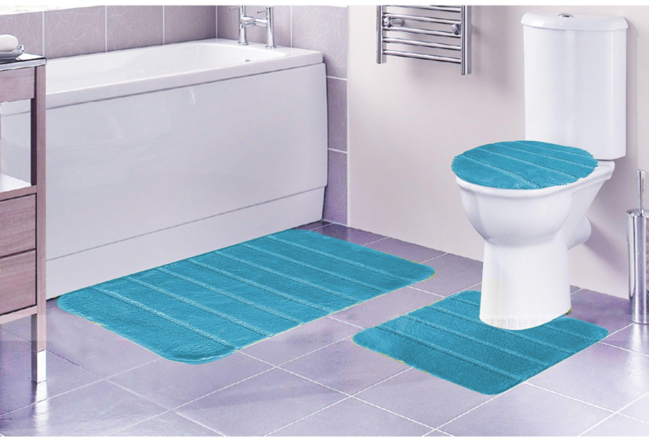 Louise Ribbed 3 Piece Bathroom Rug Set Bath Rug Contour Rug Lid