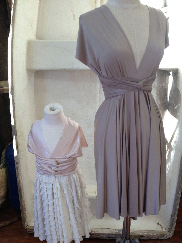Coco Champagne Silky Satin Jersey Octopus Convertible Wrap Short Dress Bridesmaids, Wedding, Etc.