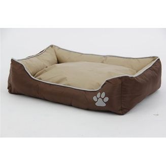 Olive Tan Gray and Waterproof Plush Oxford Pet Bed Sleeper Lounge -