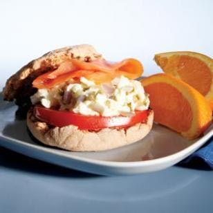 Egg and smoked salmon sandwich