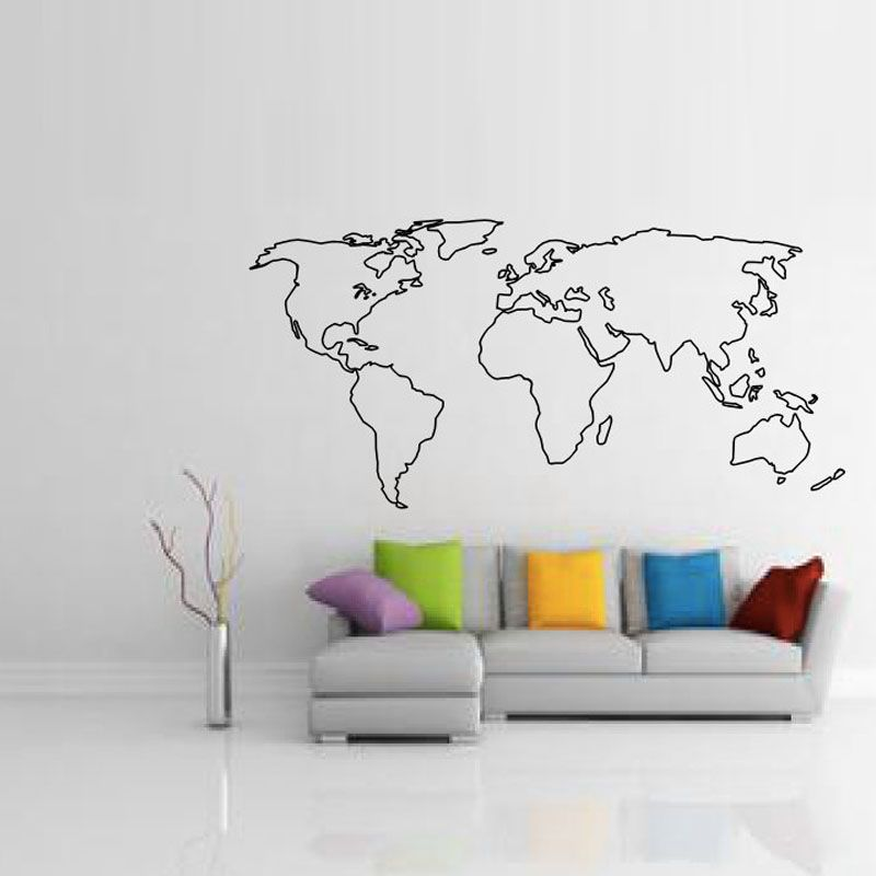 BucKoo hot wall stickers Large World Map