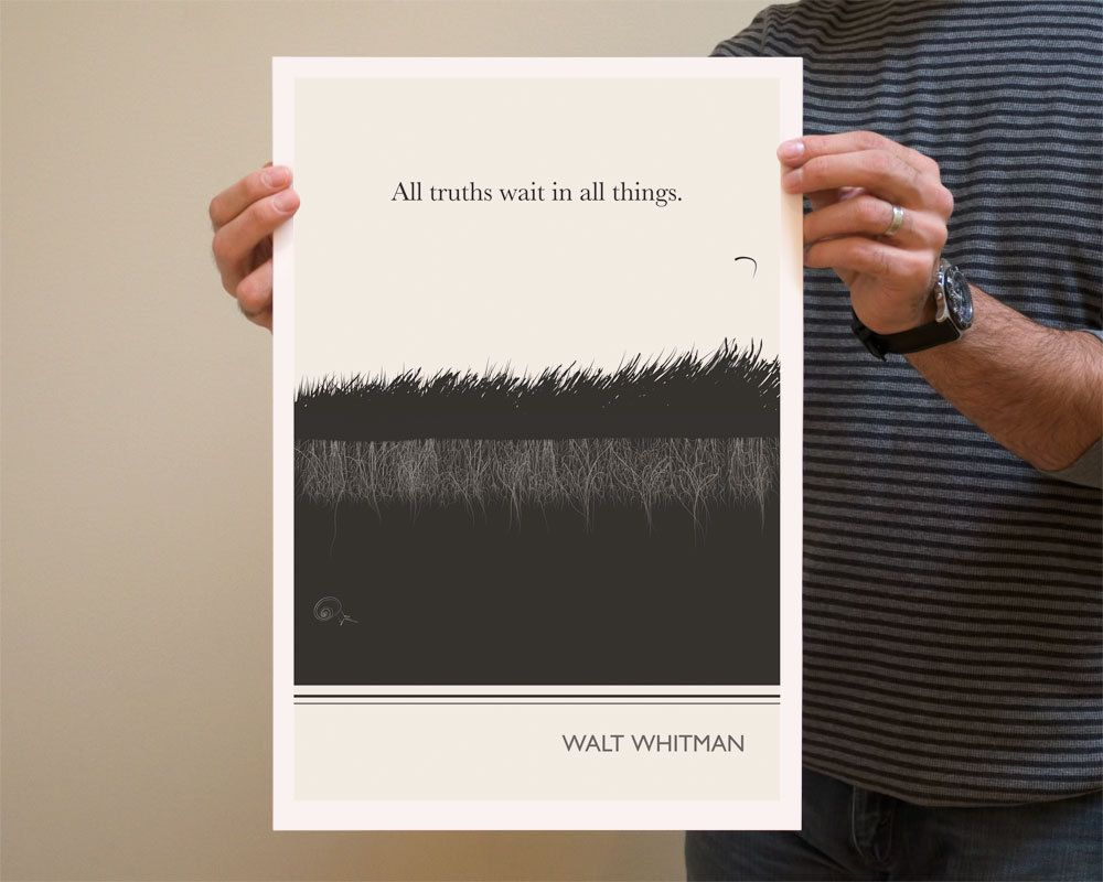 Graphic design poster quotes - Large Art Poster Walt Whitman Quote Literary Art Prints Minimalist Illustration Large Wall Art Quote Prints Vertical Living Room