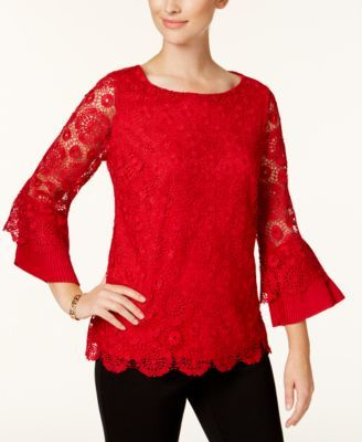 Charter Club Bell Sleeve Lace Top Created For Macy S 39