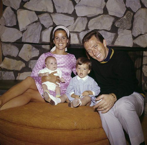 Andy Williams and wife Claudine Longet with children, Noelle and Christian, 1965.