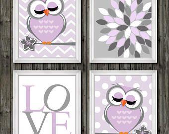 Baby S Owl Nursery Decor Purple And Gray Theme For