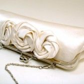 satin bridal clutch with rosettes (by sara c accessories)