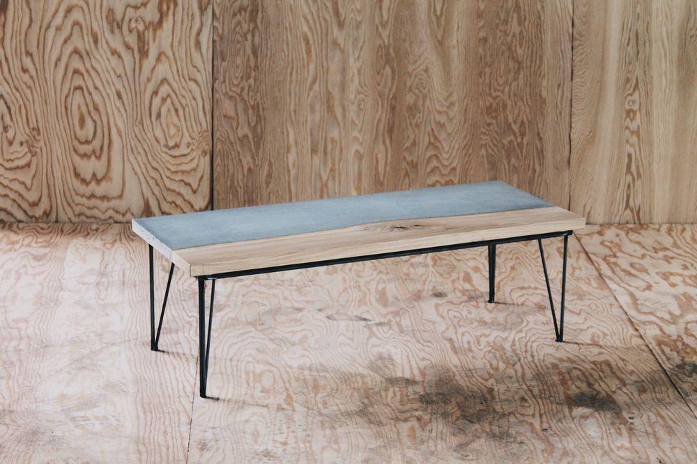 44 x 18 x 14 wood versus concrete on hairpin legs natural edge rh pinterest com