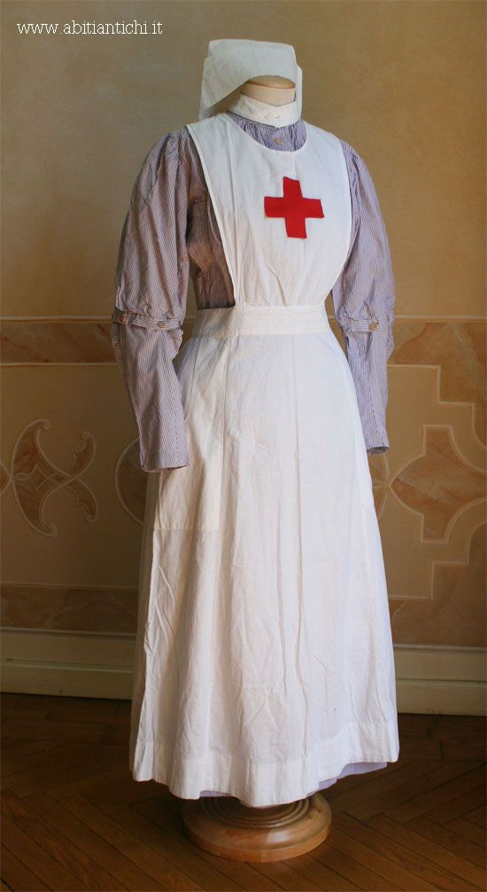 accb80148331e Nurse's uniform of the British Red Cross in the First World War, composed  of whole dress in lilac striped cotton with front detachable sleeves; ...