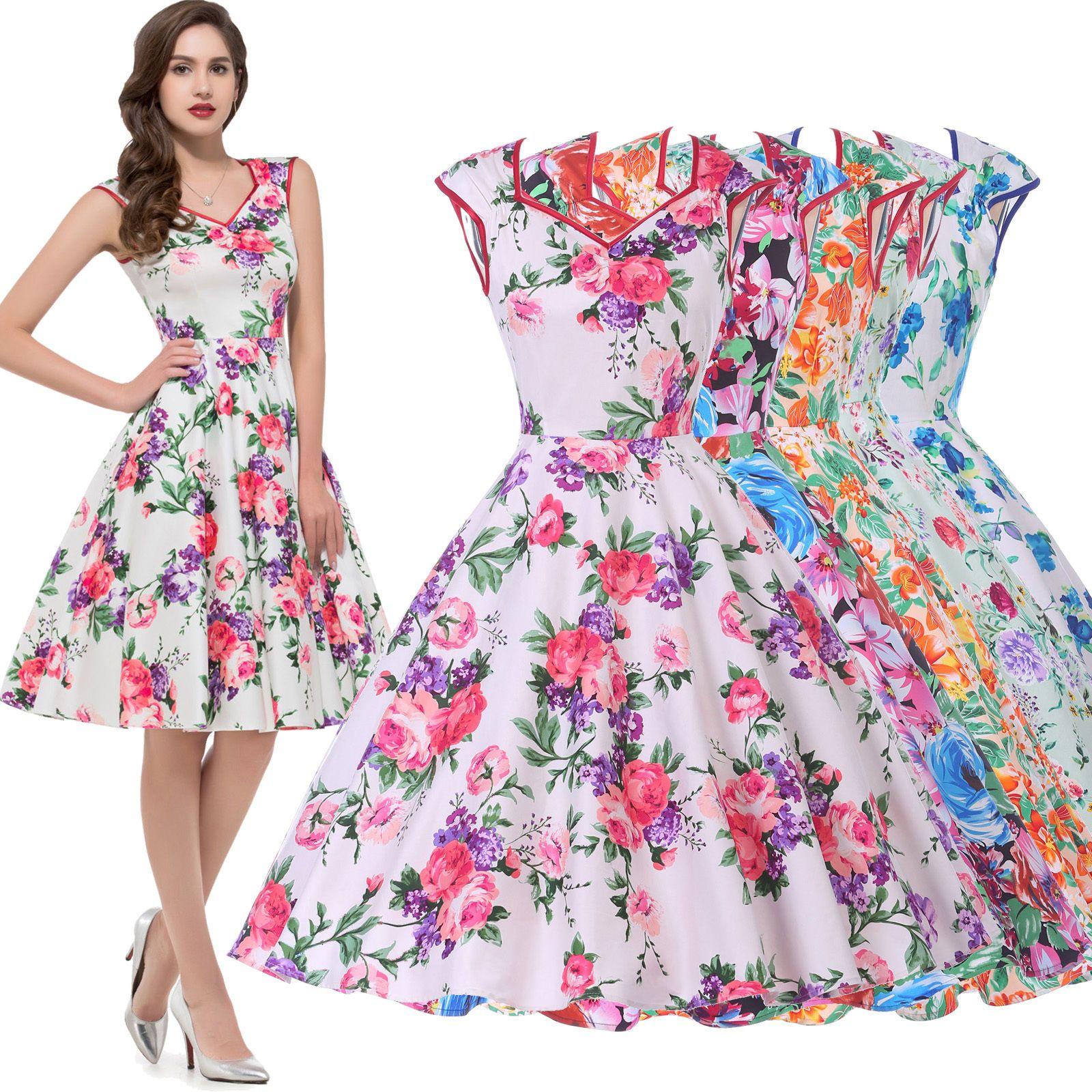 Floral short vintage s s pinup cocktail swing evening tea dress