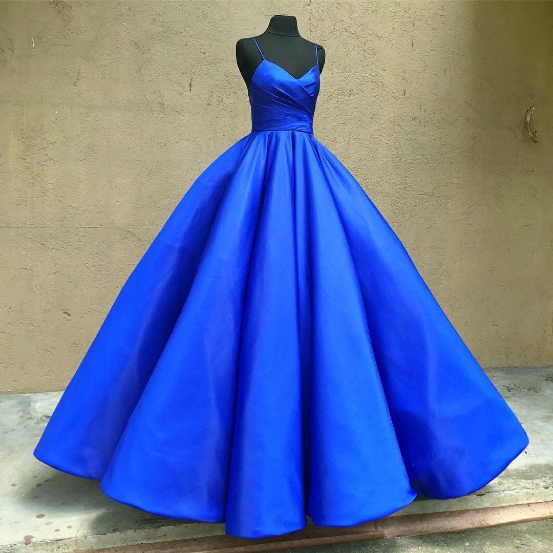 Spaghetti straps royal blue prom dress formal occasion outfits