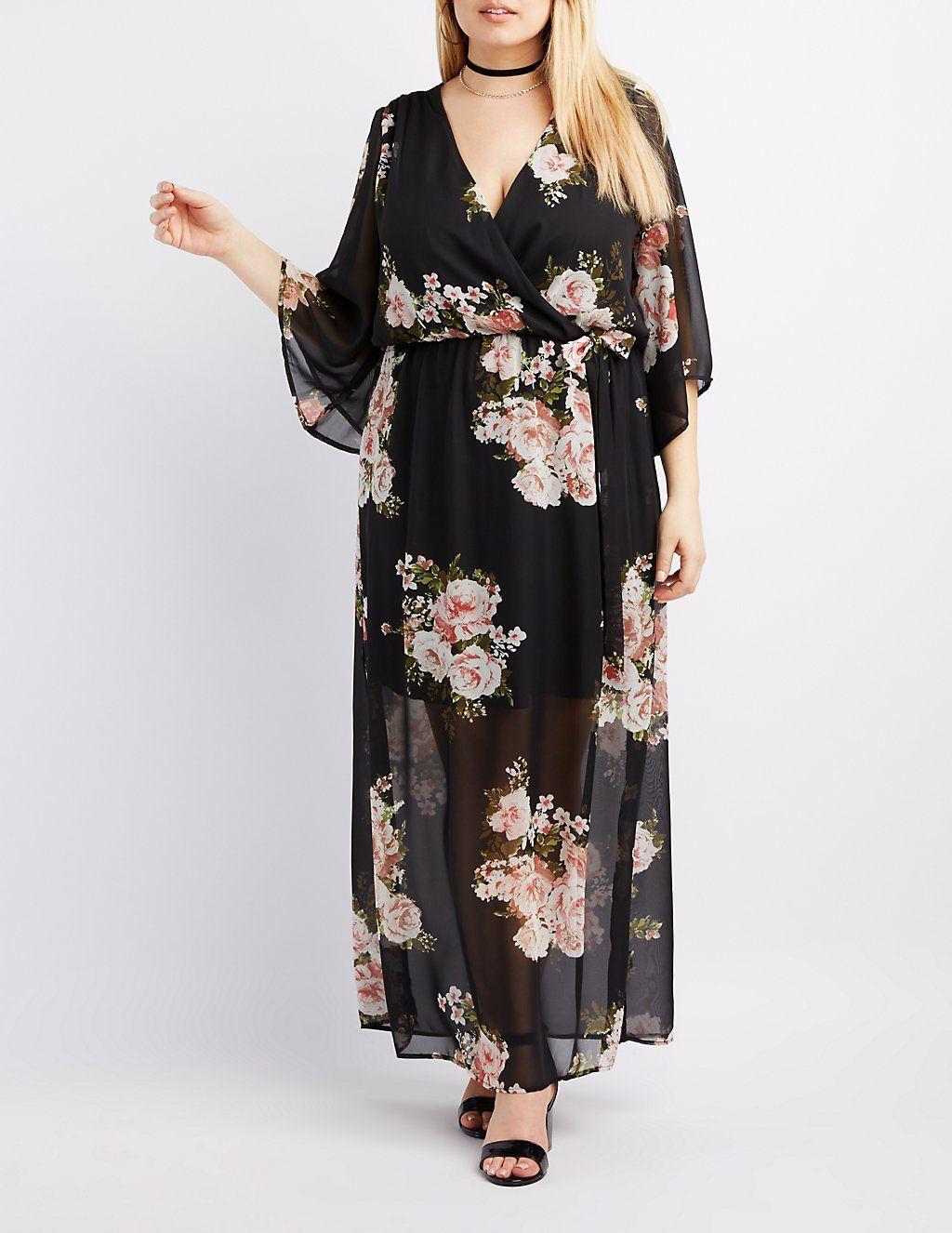 Plus Size Floral Kimono Sleeve Maxi Dress | Maxi dress with ...