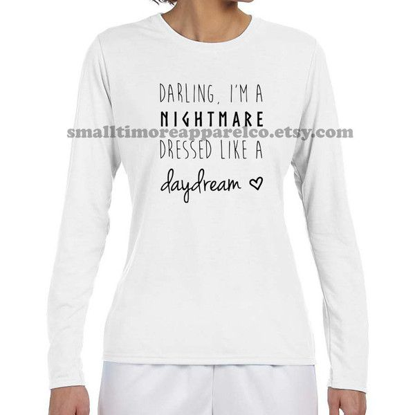 Taylor Swift Blank Space Nightmare Dressed Like a Daydream Long Sleeve... ($20) ❤ liked on Polyvore featuring tops, red, t-shirts, women's clothing, wicking long sleeve shirt, red shirt, red long sleeve top, red white shirt e long sleeve collared shirt