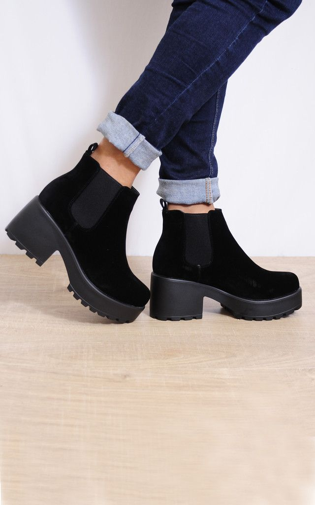 Pull On Cleated Platform Ankle Boots In