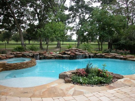Natural Setting Pool With Table Rock Waterfall And Weeping Wall - Swimming-pool-designs-with-waterfalls