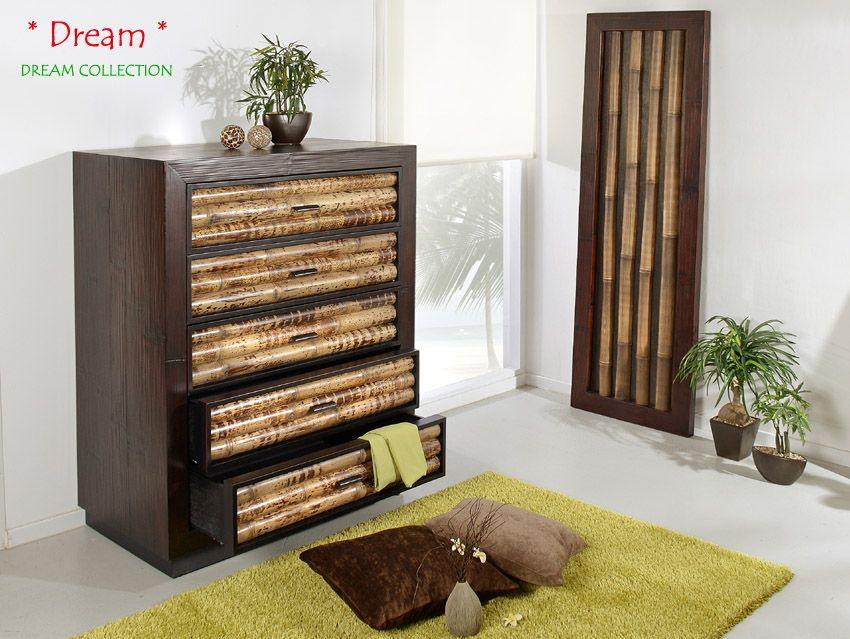 Chiffonnier Kommode Dream mit 5 Schubladen Bambusmöbel für Dein