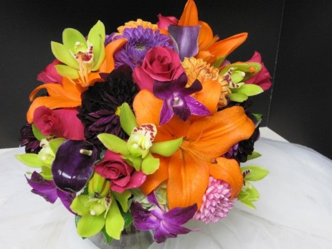 Orange lilies, purple, pink and green bouquet   Flowers   Pinterest ...