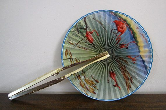 hand fan metal. vintage hand held fan with metal handle by jaspergoodwinvintage, $19.99