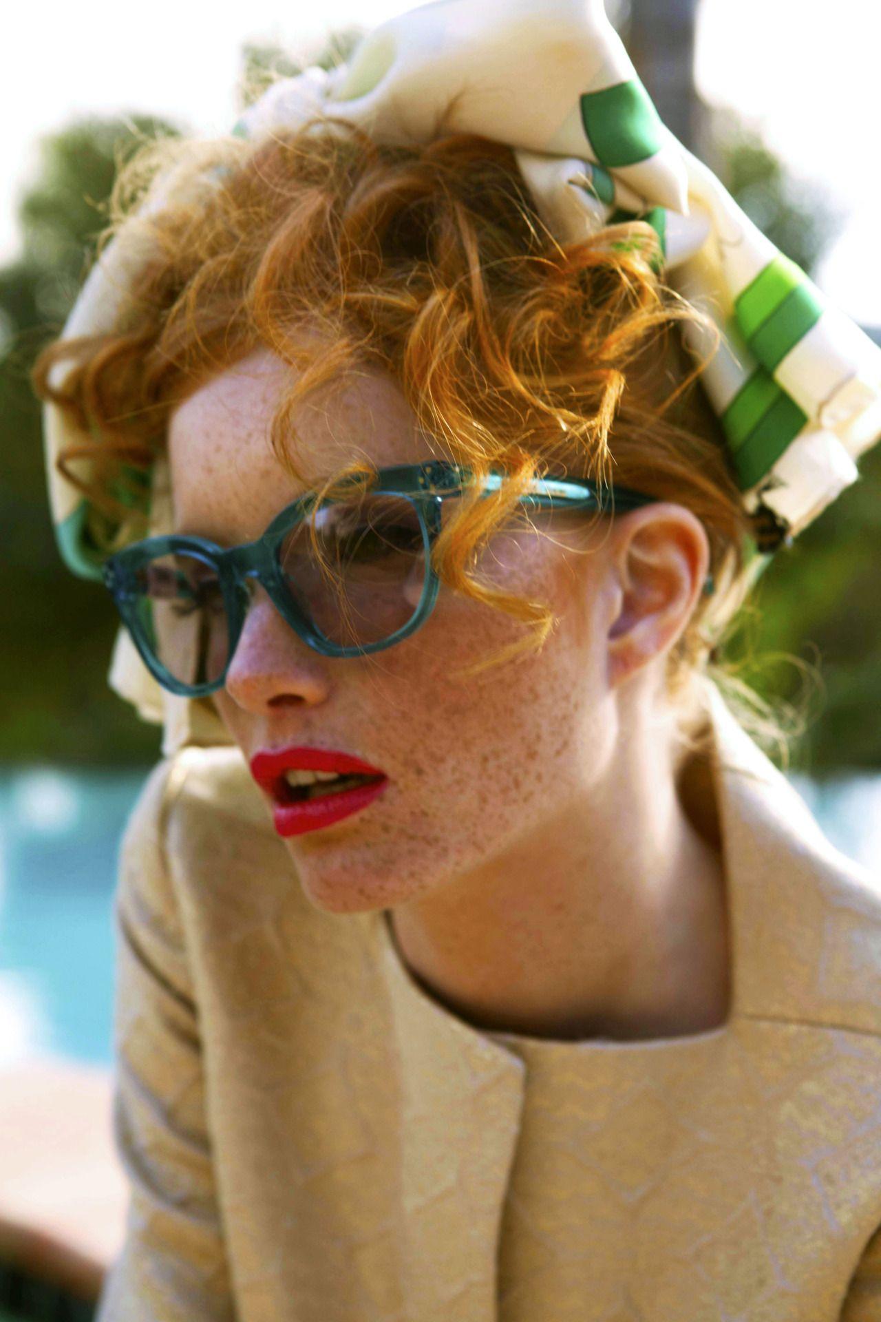 Green frames sunglasses