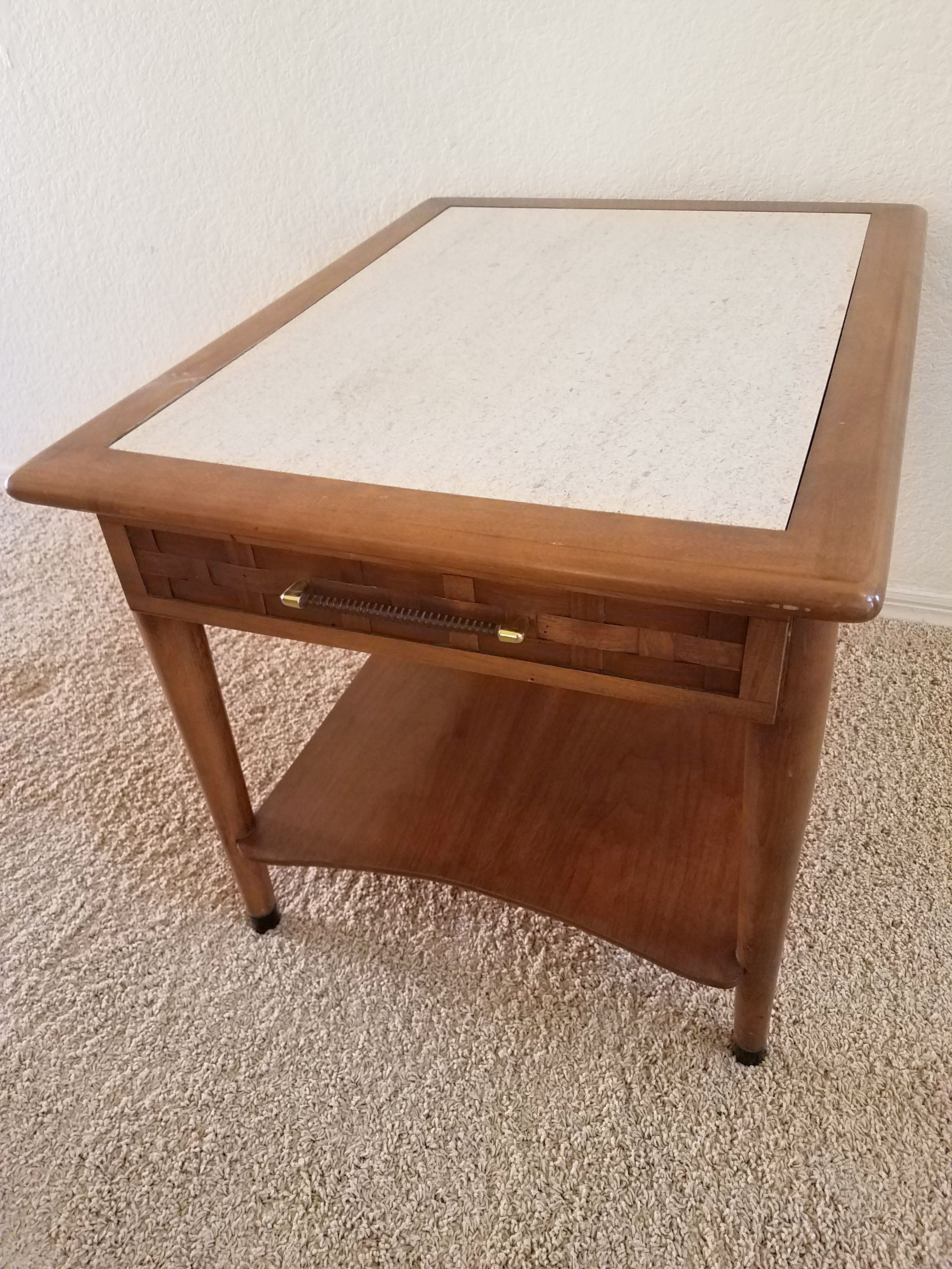 mid century end table with a marble top and a basket weave drawer rh pinterest com