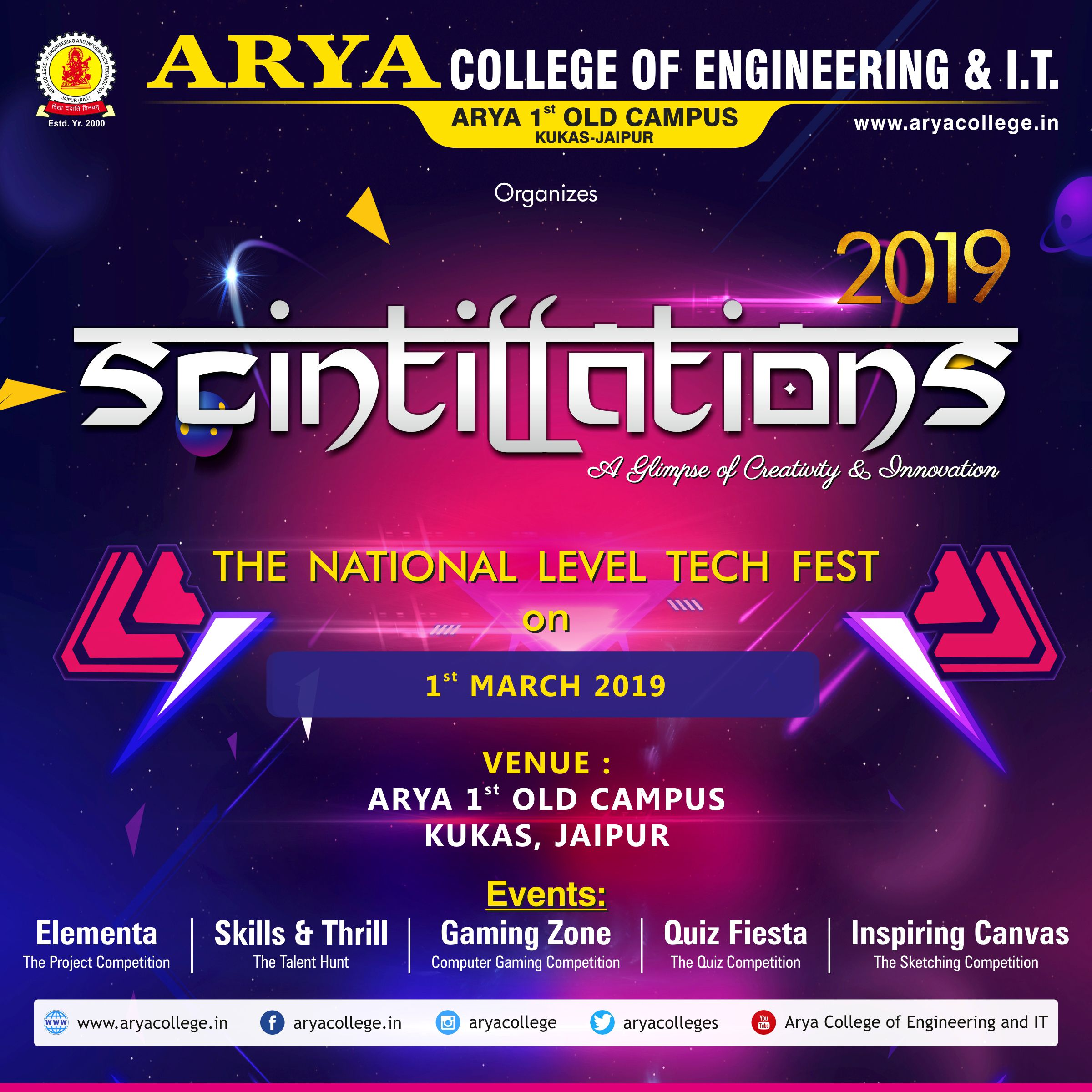 Arya College Of Engineering And It Is Going To Organize Scintillation S A Glimpse Of Creativity On 1st March 2019 At Engineering Colleges College Engineering